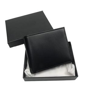 Tarjeta de cartera de hombres Estuche del titular de la cartera Bolso de moda estilo delgado Pocket Wallet Top Cuero Titular de la tarjeta de crédito Bolso de las señoras con la cartera de la caja