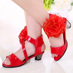 Fashion bright patent leather and magic girl high heel sandals magic flower sandals small high heel Latin shoes women