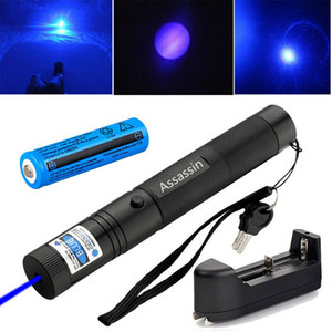 눈에 보이는 블루 Voilet 레이저 포인터 펜 10Miles 단일 빔 충전식 블루하기 Lazer 펜 포인터이 405nm + 18650 배터리 + 충전기