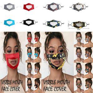 Lip clear mask visible mouth face cover Anti-fog transparent mask soft PET printing mask solid-color outdoor adult dustproof masks da626