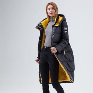 CEPRASK 2020 Kış Yeni Aşağı Ceket Kadın Giyim Yüksek Kalite Kalın Pamuk Moda Stil Uzun Kontrast Renk Kadın Kış CoA