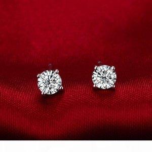 4 Карат пара Оптовая Корзина серьги стержня для женщин 4 зубца гальваническим платины Обручальное Anniversary SONA синтетических алмазов серьги