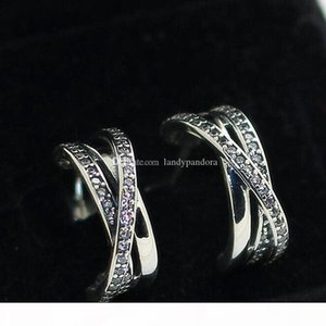 High-quality New 100% S925 Sterling Silver Stud Earrings European Pandora Style Jewelry Earrings Entwined Stud Earrings