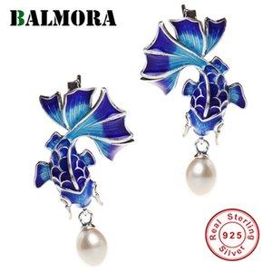 Balmora 925 Sterlingsilber Simulieren-Perle Goldfish Retro-Bolzen-Ohrringe für Frauen Emaillieren Folkloristische Mode Schmuck Brincos