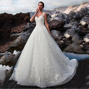 Gorgeous Lace Straps Illusion Sweetheart A Line Wedding Dresses Lace Up Beach Wedding Gowns Formal Customized Made