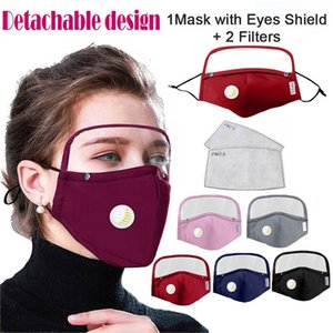 Detachable Protective Breathing Valve Face Mask With Eyes Shield + 2 Filters