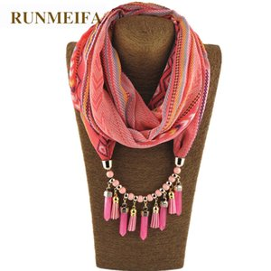 RUNMEIFA Charms Pendant Necklace Scarf Jewelry Style CylindricalIron Alloy Match Keep Warm Tourism Wear Beads Water Drop Jewelry
