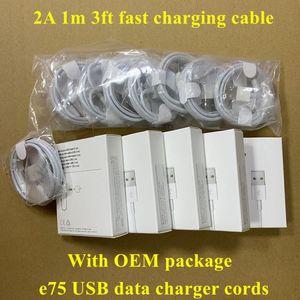 2A 1m 빠른 OEM는 E75의 USB 기가 7 8 X 11에 대한 데이터 충전기 코드를 포장에 케이블을 충전 3 피트