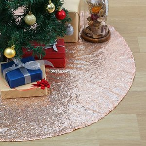 Hot XD-Christmas Tree Skirts 48 Inch Sparkly Tree Skirt Fabric Carpet Round Gold Sequin Christmas Mats Beautiful Photograph