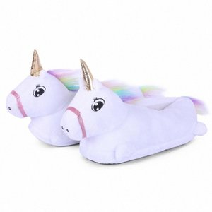 Infantili scarpe animali Cartoon Unicorn Slipper Bebé Adulto Cosplay Indossare scarpe da animali i bambini Indoor invernale Unicorn HI3J #