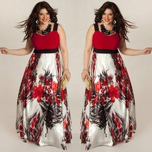 New Hot Sale Plus Size Floral Women Summer Boho Maxi Long Dress Red Green Sleeveless Beach Party Evening Sundress