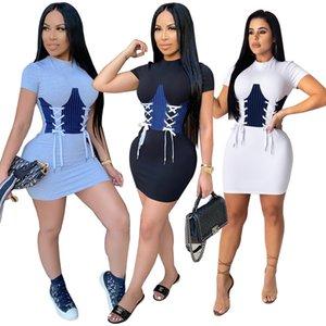 Clavus Bandage Fashion Women's Bottom Dresses Lady and Girl's Night & Club Dress Crew Neck Short Sleeve
