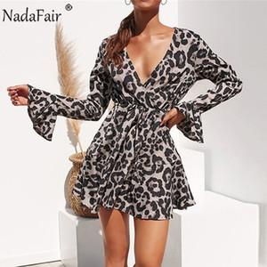 Nadafair Повседневная Wrap Mini Plus Размер Женщины Leopard платье осень Flare с длинным рукавом шифон-Line животных Печать Урожай сексуальное платье
