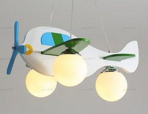 خشبية الثريا الطائرات الحديثة الإبداعي E27 أبيض 3 رئيس مصباح غرفة نوم الطفل العلية الكرتون حماية العين الزخرفية أضواء LLFA