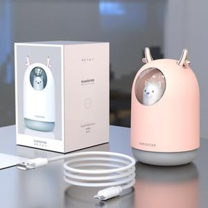 2020New Ev Aletleri USB nemlendirici 300ml Sevimli Hayvan Ultrasonik Mist Aroma Hava Yağ Yayıcı Romantik Renkli LED Lamba Humidificador Soğuk
