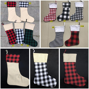 Meias de Natal Red Plaid Christmas Stocking Cotton búfalo flanela Black Christmas Decor Poly Sublimation espaços em branco de Santa Meias KHA415
