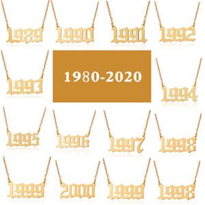Из нержавеющей стали на день рождения год количество ожерелье серебряные золотые цепочки первый год Номер кулон ожерелье женщин ювелирные изделия будут и песчаные
