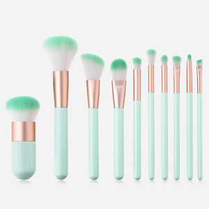 Auf Lager! Mint Green Make-up-Bürsten-Satz-Berufsverfassungs-Bürsten-kosmetische Verfassungs-Bürsten-Werkzeuge 10pcs