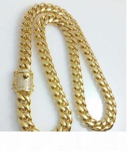 Men 14K Yellow Gold Fill14mm Lab Diamond Miami Cuban Chain Necklace
