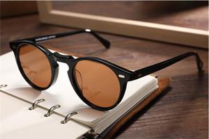 Sıcak satış Vintage Gregory Peck OV5186 yuvarlak güneş gözlüğü HD polarize UV400 mercek 45-23-145 unisex hafif ithal saf tahta fullset vaka