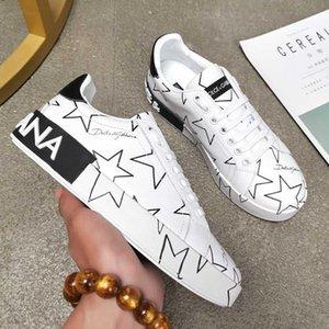 Les nouveaux hommes et femmes Chaussures de design de luxe mixte imprimé étoiles Sneakers Napa Calfskin mode Chaussures de randonnée en cuir Casual Selle Win