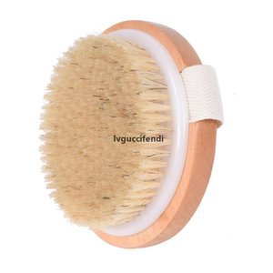 Escova corpo redondo Natural Horsehair sem punho seco banho Pele Duche Brushes SPA Duche de Massagem de madeira Escovas LX7421
