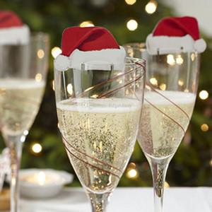 2017 NEW 10pcs / серия Xmas Шляпы Шампанское Вино стекла Caps Рождественский праздник партии Таблица украшения картон Место карты