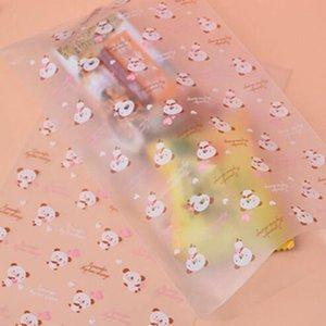 Creative 100pcs lot Little Bear Translucent Bag Plastic Bags 12x20.5cm Packaging Pouches Wrappers Cupcake Cookie Bag