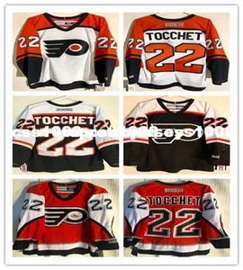 Cheap personalizzati Rick Tocchet # 22 CCM Classic Jersey Philadelphia Flyers mens arancione personalizzati maglie cucitura