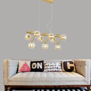 Modern Amber Glass LED Pendant Light Bubble Ball Chandelier Hotel Home Living Room Dining Room Ceiling Lamp PA0499