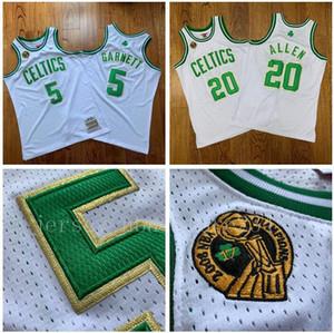 남자 농구 보스턴셀틱스5 가넷 (20) 알렌 미첼 네스 2007에서 2008 사이 흰색, 녹색 스윙 맨 민소매 저지와 바지 01