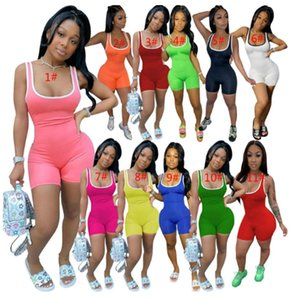 Women Designer Clothes 2020 Plus Size Women Solid Color Jumpsuits Summer Clothing Skinny Mini Sleeveless Rompers Sports