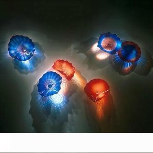 2020 Mouth Blown Glass Wall Art Decor Plates Custom Colored Handmade Blown Glass Wall Lamps for Living Room Hotel Decor