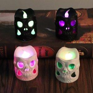 Cráneo luminoso LED de la vela de Halloween creativa LED de la vela de la casa encantada partido de la barra cráneo decoración Negro Plástico Blanco Cráneo Velas