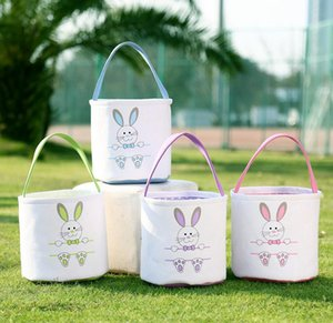 Canvas Easter Basket Rabbit Print Bucket Bags DIY Cute Easter Baskets Tote Bag New Year Easter Eggs Favor Handbag Rabbit Put Basket RRA2593