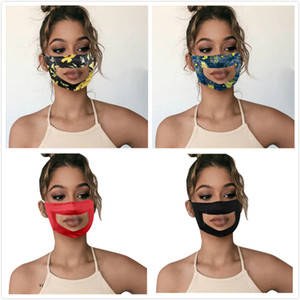 Transparent Face Mask Lip Language Printing Floral Deaf mute Reading Mouth Clear Window Cover Adjustable Washable Reusable Protection