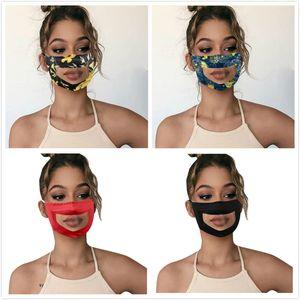 Masque transparent lèvres Langue impression florale Sourd muet lecture Bouche claire Fenêtre Couverture réglable Lavable Protection réutilisable