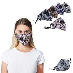 Leoparddruck-Gesichtsmaske Wiederverwendbare Filteratemventil Protect Masken Für Staub Waschbar Partikel Verschmutzung Antistaub PM2.5-Maske