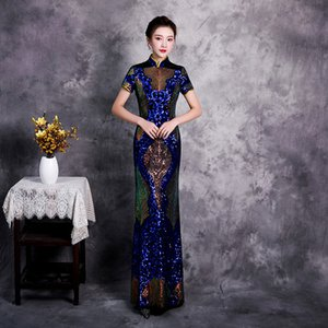 Blue Sequins Plus Size 5XL Chinese Vintage Lady Qipao Fashion Handmade Button Cheongsam Novelty Chinese Formal Dress