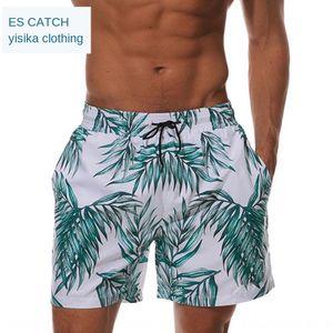 praia impressa dos homens ESCATCH shorts calças de praia trimestre calções respirável calças de surf natação ocasional impermeáveis