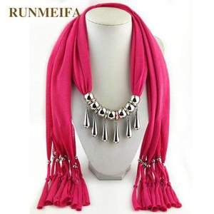 RUNMEIFA Pendants Necklaces Scarf Trendy Alloy Pendant Women Five Water Drop Form Tassel Scarf Long Accessories