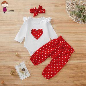 LILIGRIL Newborn Baby Girls Clothes Long Sleeve Heart Print T-shirt+red Polka Dot Pants+Headband Infant Baby Girls Clothing Set