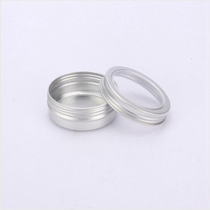 60ml Metal Tin Container Aluminum Cream Jar Pot With Visible Window Small Box Screw Lid Empty Cosmetic Portable Storage Boxes LJJP122