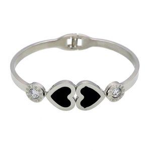 Roman Word Style Titanium Steel Spring Buckle Open Bracelet Double Peach Heart Personality Female Bracelet