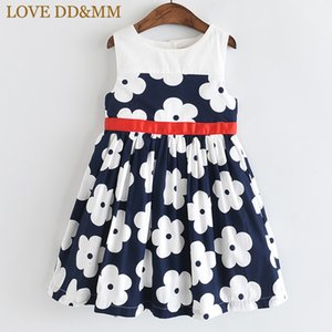 LOVE DD&MM Girls Dresses 2020 Summer New Kid's Wear Girls Sweet Full Stitching Flower Round Neck Sleeveless Comfortable Dress