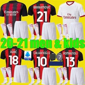 Rapazes camisas de futebol AC 2020 2021 Milão Ibrahimovic Definir 19 20 21 Piatek Paquetá THEO Rebic futebol camisas homens crianças kits de uniformes