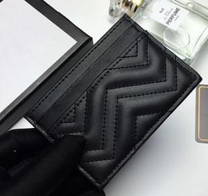 2020 neue Mode-Kartenhalter-Frauenbrief-Mini-Geldbörse Großhandel Designer Reine Farbe Echtes Leder Schwarz Geldbörse mit Kasten Freies Verschiffen