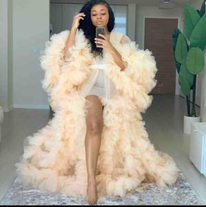 Rüschen-langärmlige Frauen-formale Abschlussball-Kleid Kimono Schwangere Partei Nachtwäsche Frauen Bademantel Sheer Nightgownrobe Shawel Mutterschaft Foto-Shooting