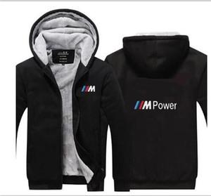 BMW Rennanzug plus Samt dick Reißverschluss mit Kapuze warme Pullover Gezeiten Marke Casual Wear dicke Männer warme Baumwollstrickjacke Baseballuniform