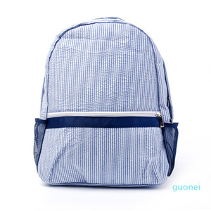 Saco do tecido qualidade Moda design simples Seersucker Marinha Escola Rosa saco de malha bolso lateral Backpack por Mulheres